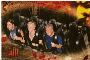 Yep that's me with blonde hair. As embarrassing as this picture is, it's too funny not to post! I really, really hate roller coasters! The Saw ride at Thorpe Park is horrible, I don't think I opened my eyes once!