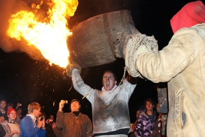 We're shooting right by a town called Ottery St Mary. You may have heard of it, it's famous for this ridiculous event: Tar barrels!