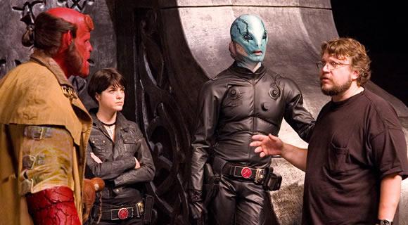 Del Toro on set of Hellboy