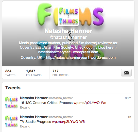 My blog's twitter page
